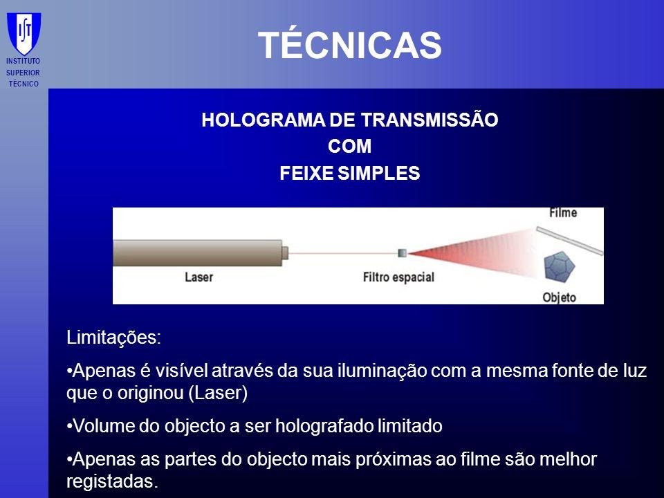 INSTITUTO SUPERIOR TÉCNICO TÉCNICAS HOLOGRAMA DE TRANSMISSÃO COM FEIXE SIMPLES Limitações: Apenas é visível através da sua iluminação com a mesma font
