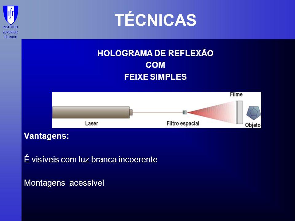 INSTITUTO SUPERIOR TÉCNICO TÉCNICAS HOLOGRAMA DE REFLEXÃO COM FEIXE SIMPLES Vantagens: É visíveis com luz branca incoerente Montagens acessível