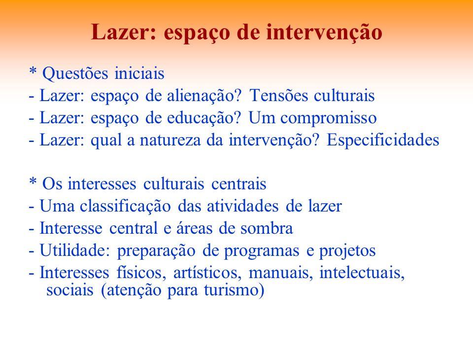 Lazer: espaço de intervenção * Questões iniciais - Lazer: espaço de alienação? Tensões culturais - Lazer: espaço de educação? Um compromisso - Lazer: