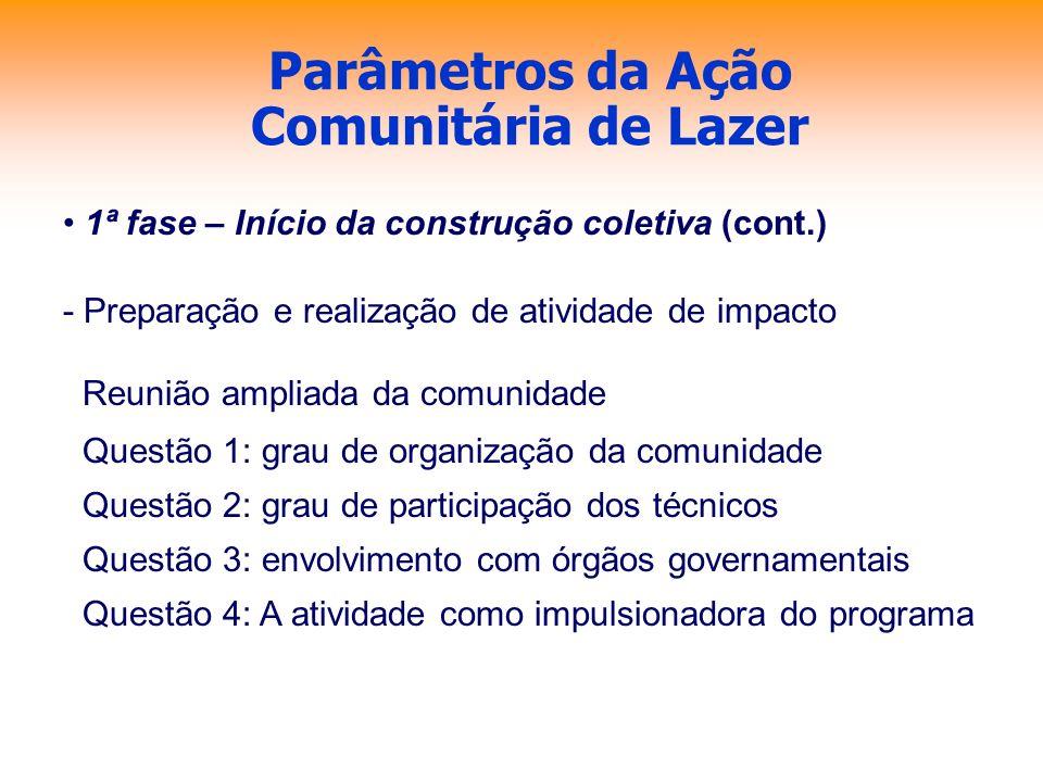 Parâmetros da Ação Comunitária de Lazer 1ª fase – Início da construção coletiva (cont.) - Preparação e realização de atividade de impacto Reunião ampl