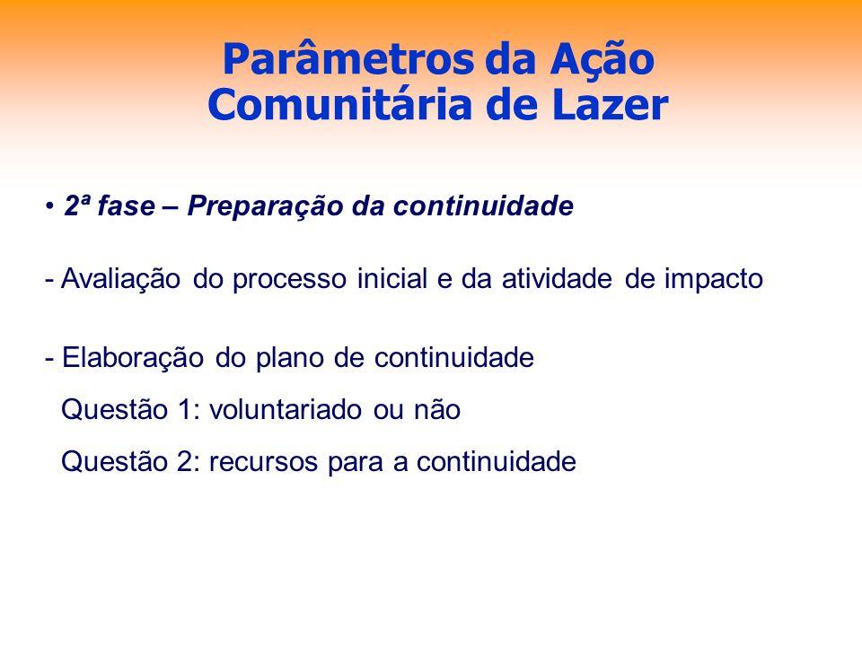 Parâmetros da Ação Comunitária de Lazer 2ª fase – Preparação da continuidade - Avaliação do processo inicial e da atividade de impacto - Elaboração do