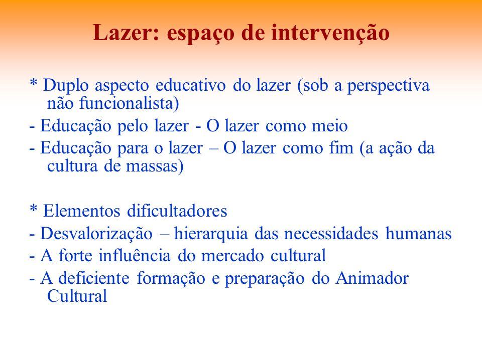 Lazer: espaço de intervenção * Duplo aspecto educativo do lazer (sob a perspectiva não funcionalista) - Educação pelo lazer - O lazer como meio - Educ