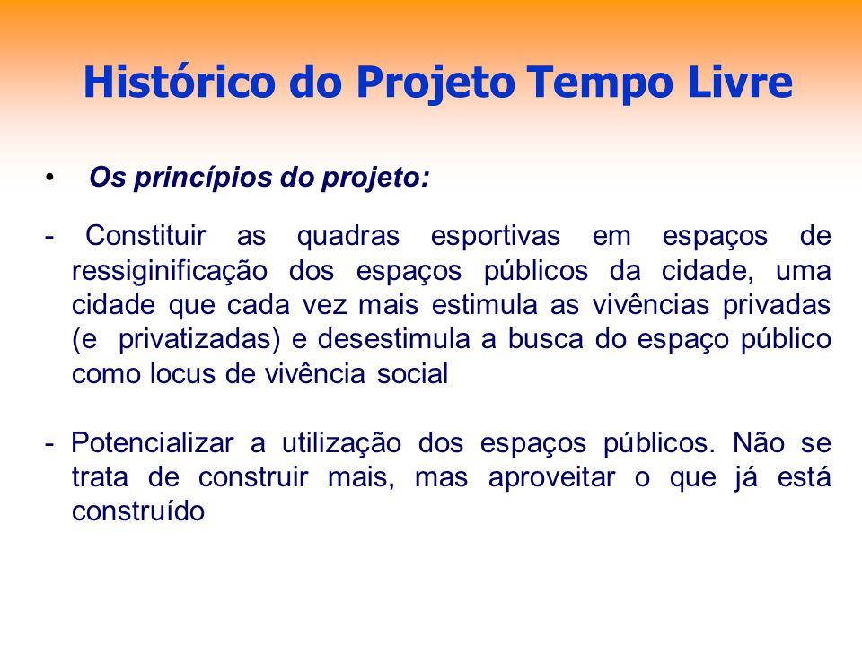 Histórico do Projeto Tempo Livre Os princípios do projeto: - Constituir as quadras esportivas em espaços de ressiginificação dos espaços públicos da c