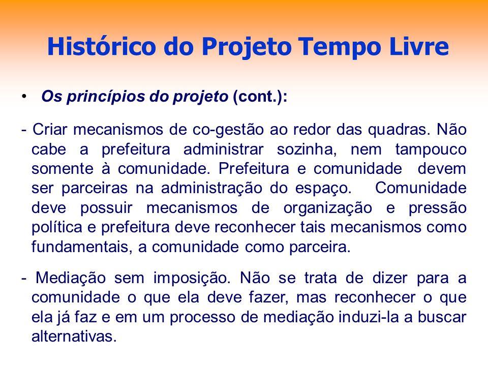 Histórico do Projeto Tempo Livre Os princípios do projeto (cont.): - Criar mecanismos de co-gestão ao redor das quadras. Não cabe a prefeitura adminis
