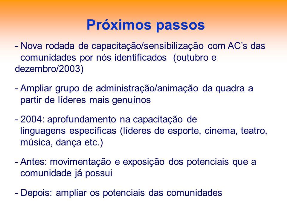 Próximos passos - Nova rodada de capacitação/sensibilização com ACs das comunidades por nós identificados (outubro e dezembro/2003) - Ampliar grupo de