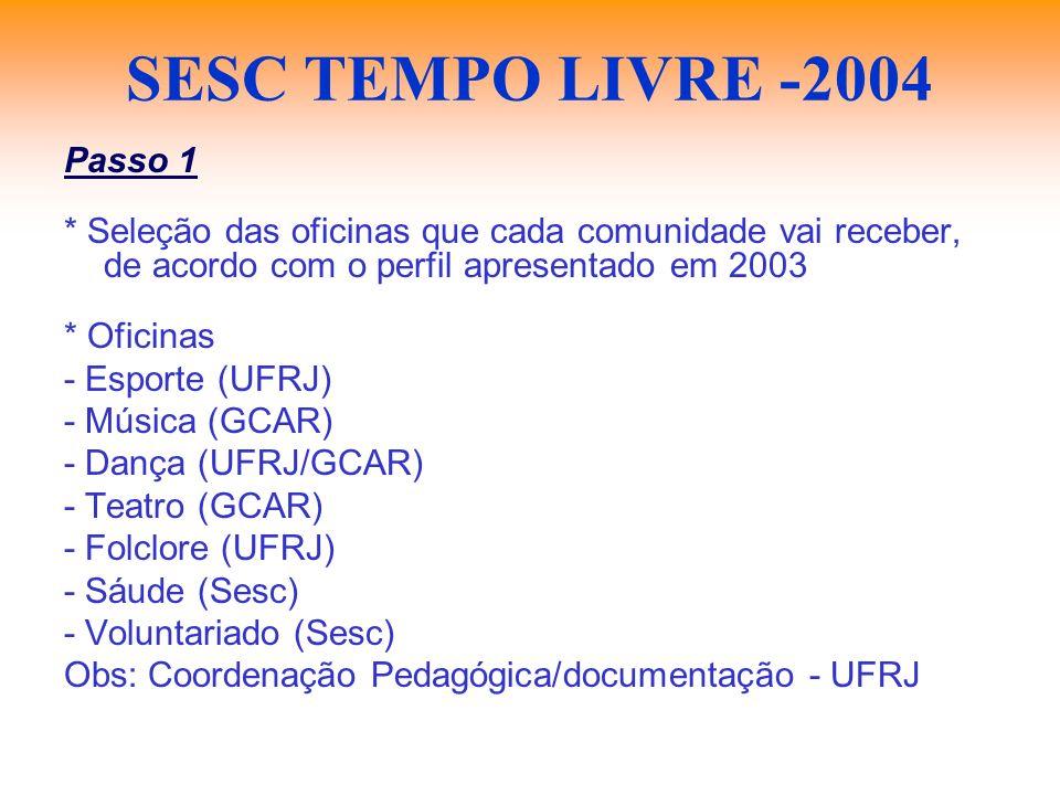 SESC TEMPO LIVRE -2004 Passo 1 * Seleção das oficinas que cada comunidade vai receber, de acordo com o perfil apresentado em 2003 * Oficinas - Esporte