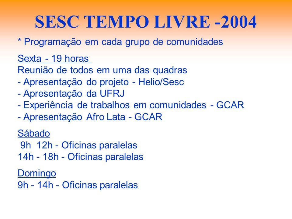 SESC TEMPO LIVRE -2004 * Programação em cada grupo de comunidades Sexta - 19 horas  Reunião de todos em uma das quadras - Apresentação do projeto -