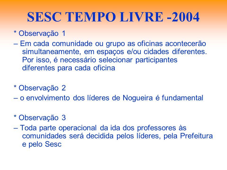 SESC TEMPO LIVRE -2004 * Observação 1 – Em cada comunidade ou grupo as oficinas acontecerão simultaneamente, em espaços e/ou cidades diferentes. Por i