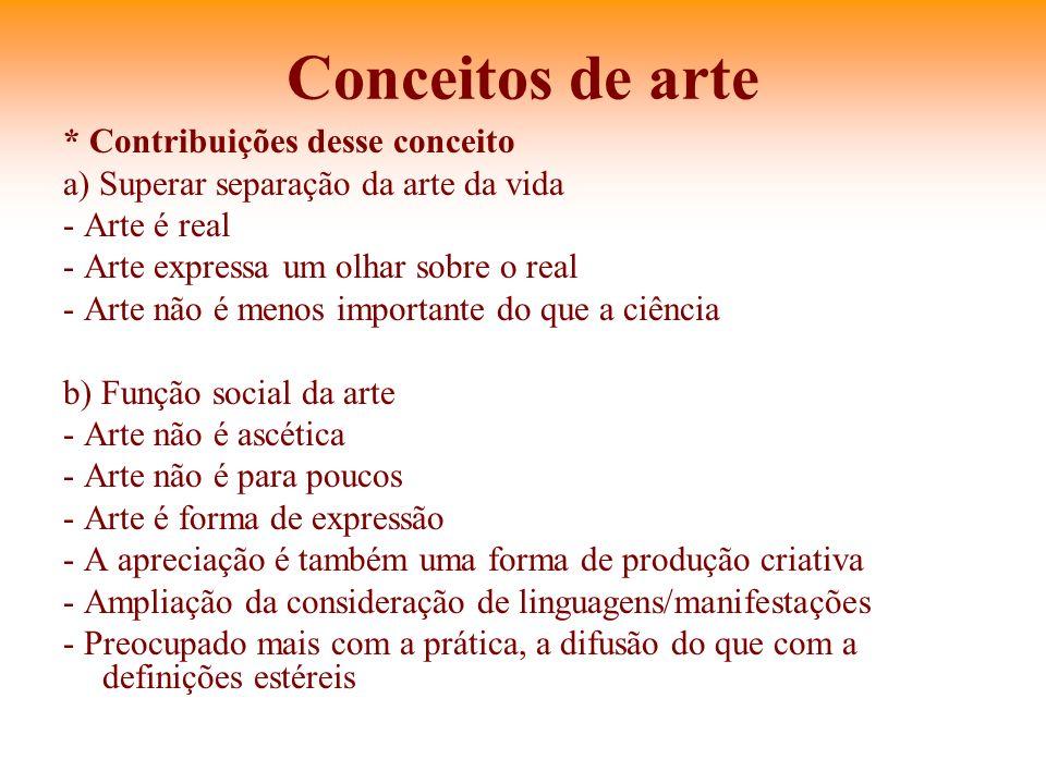 Conceitos de arte * Contribuições desse conceito a) Superar separação da arte da vida - Arte é real - Arte expressa um olhar sobre o real - Arte não é