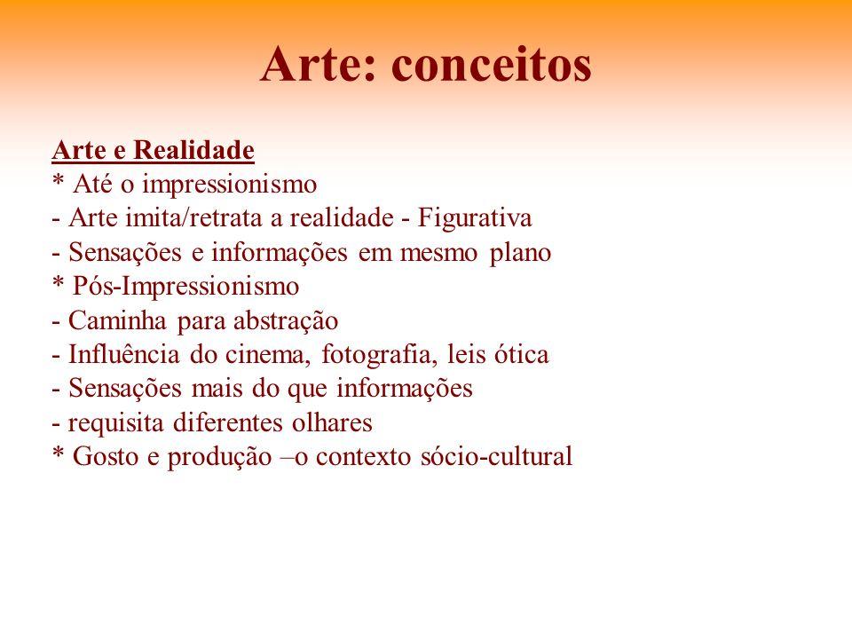 Arte: conceitos Arte e Realidade * Até o impressionismo - Arte imita/retrata a realidade - Figurativa - Sensações e informações em mesmo plano * Pós-I