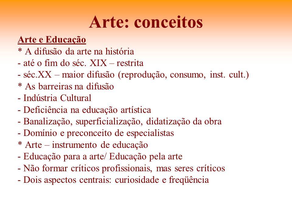 Arte: conceitos Arte e Educação * A difusão da arte na história - até o fim do séc. XIX – restrita - séc.XX – maior difusão (reprodução, consumo, inst