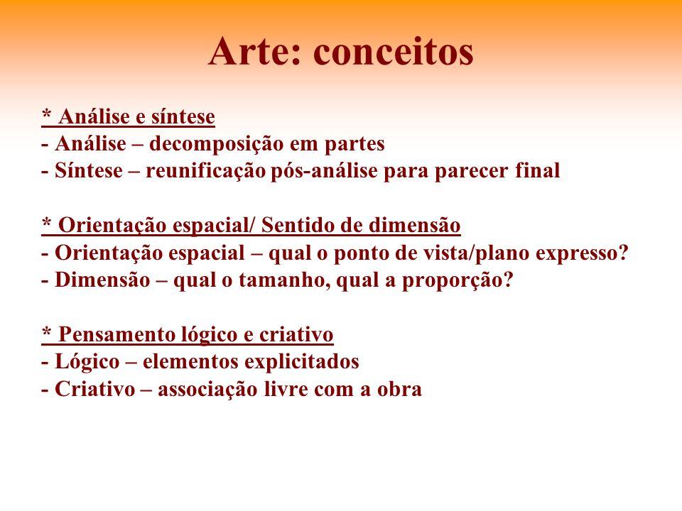Arte: conceitos * Análise e síntese - Análise – decomposição em partes - Síntese – reunificação pós-análise para parecer final * Orientação espacial/