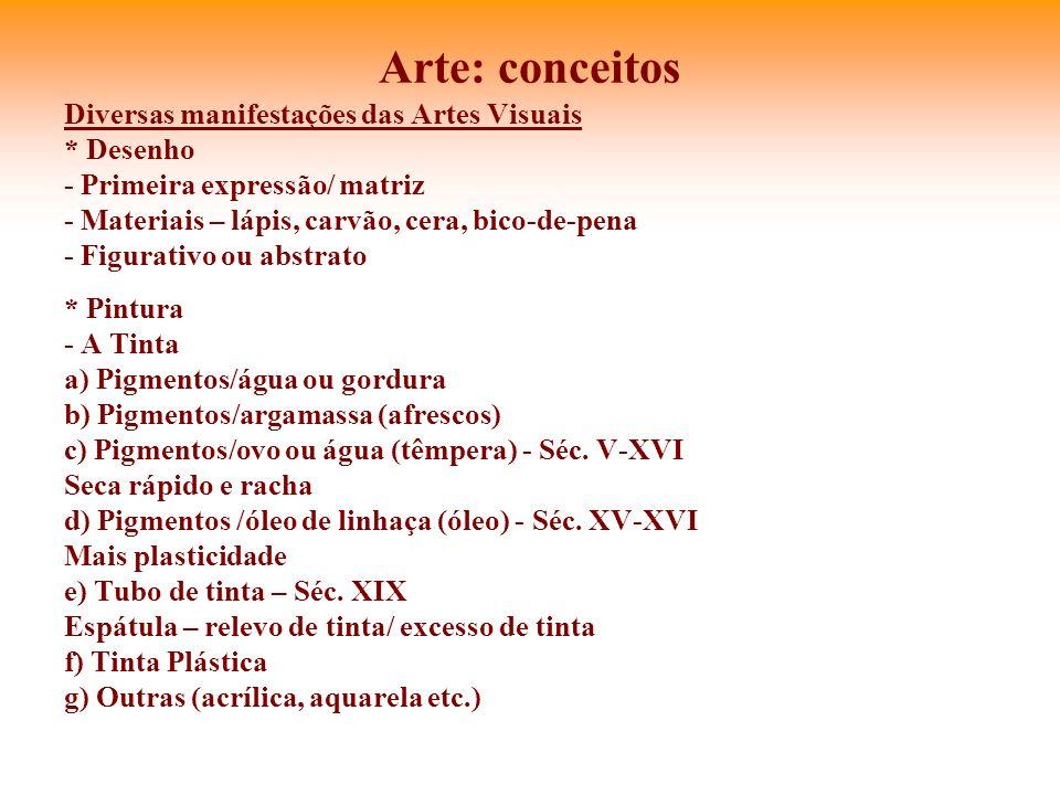 Arte: conceitos Diversas manifestações das Artes Visuais * Desenho - Primeira expressão/ matriz - Materiais – lápis, carvão, cera, bico-de-pena - Figu