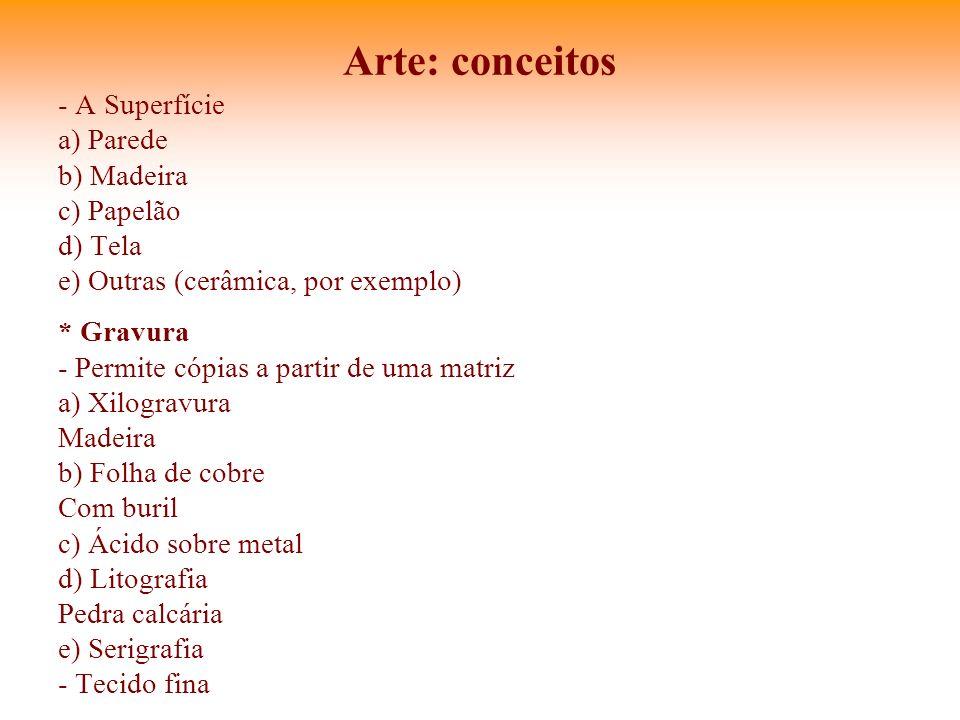 Arte: conceitos - A Superfície a) Parede b) Madeira c) Papelão d) Tela e) Outras (cerâmica, por exemplo) * Gravura - Permite cópias a partir de uma ma