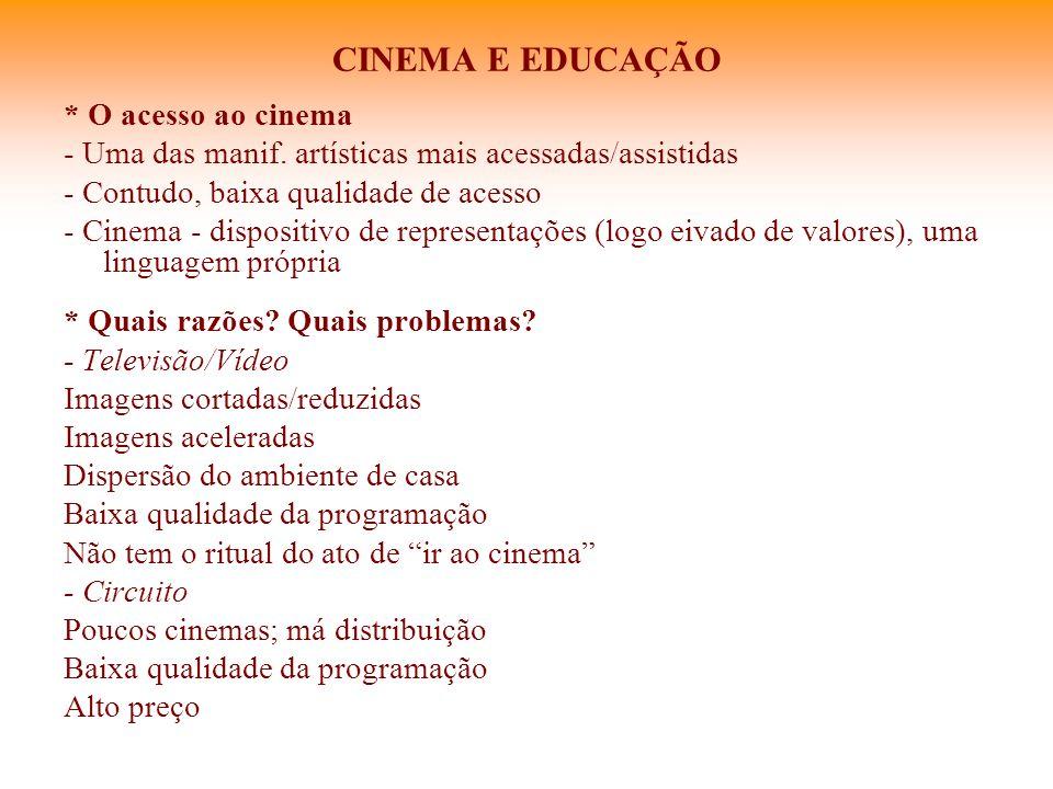 CINEMA E EDUCAÇÃO * O acesso ao cinema - Uma das manif. artísticas mais acessadas/assistidas - Contudo, baixa qualidade de acesso - Cinema - dispositi