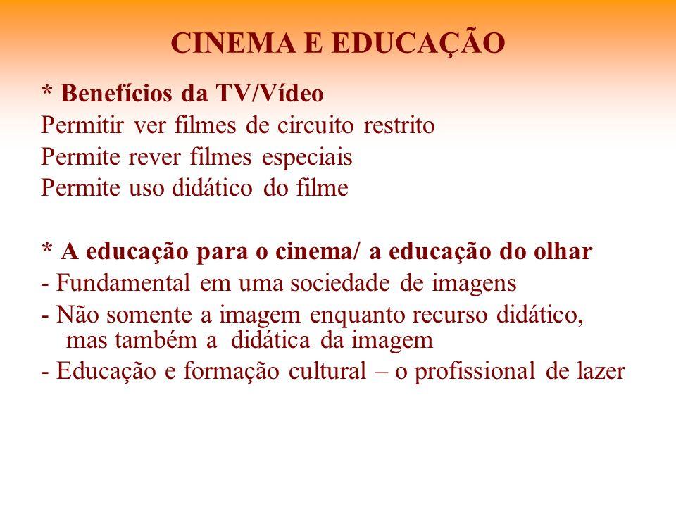 CINEMA E EDUCAÇÃO * Benefícios da TV/Vídeo Permitir ver filmes de circuito restrito Permite rever filmes especiais Permite uso didático do filme * A e