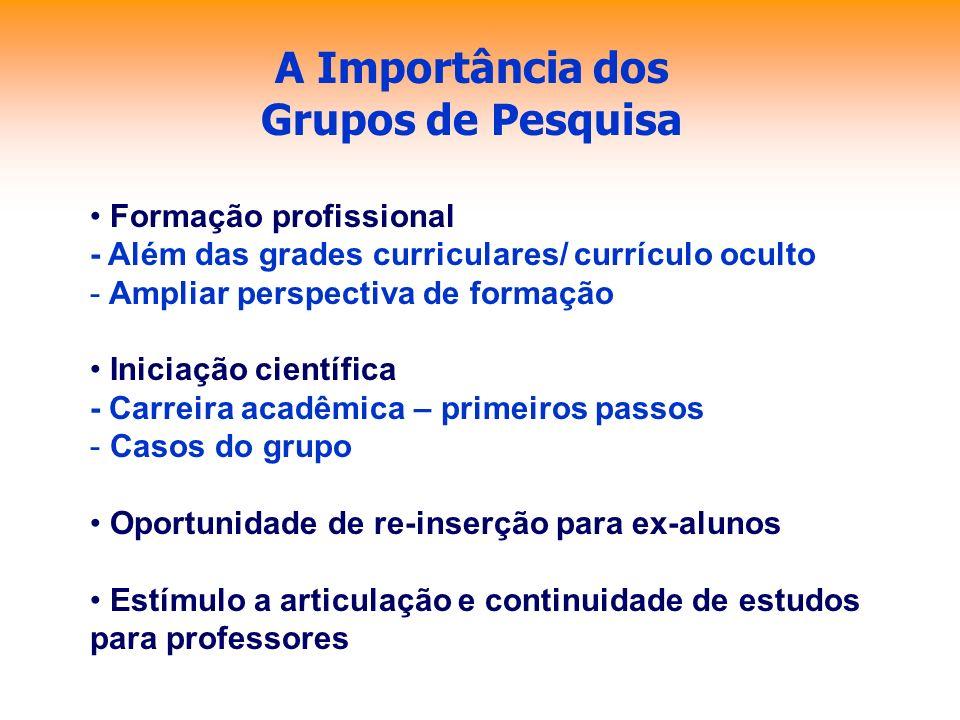 A Importância dos Grupos de Pesquisa Formação profissional - Além das grades curriculares/ currículo oculto - Ampliar perspectiva de formação Iniciaçã