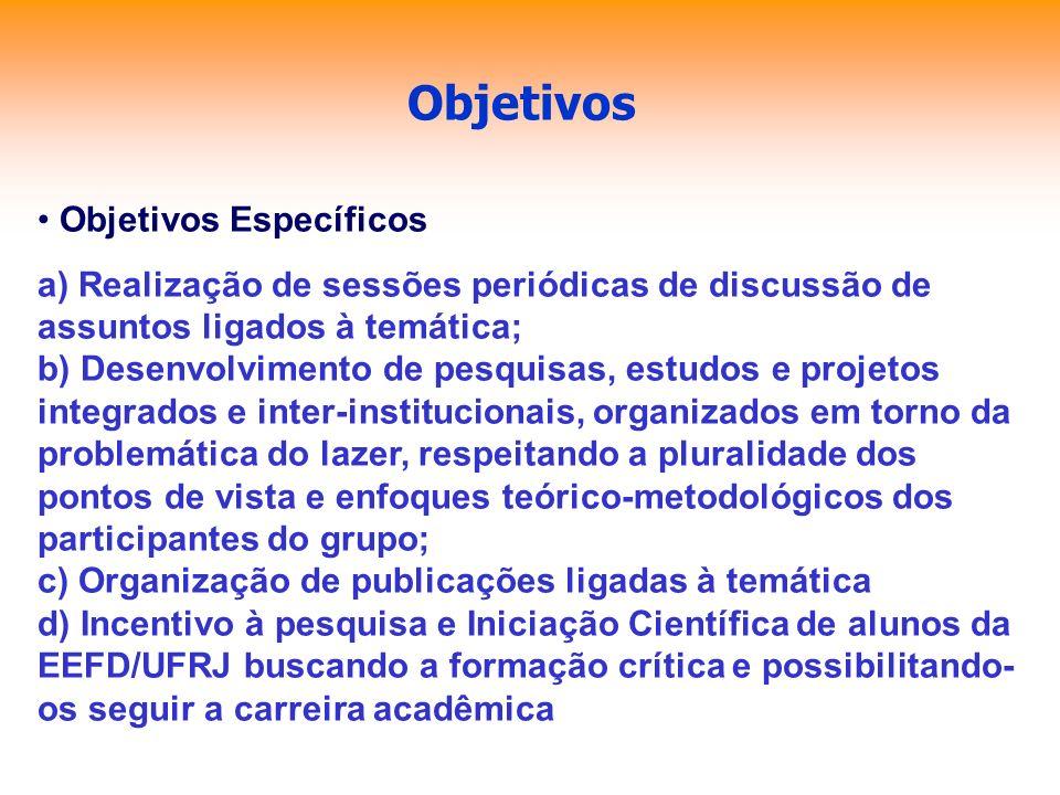 Objetivos Objetivos Específicos a) Realização de sessões periódicas de discussão de assuntos ligados à temática; b) Desenvolvimento de pesquisas, estu