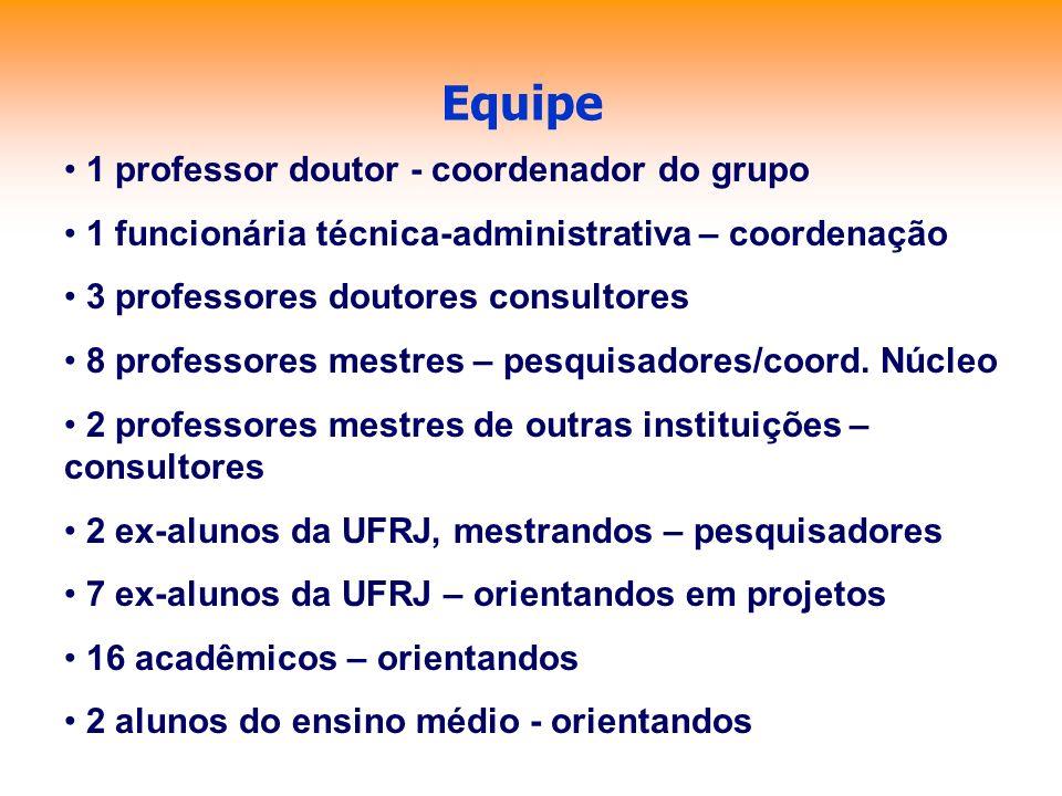 Equipe 1 professor doutor - coordenador do grupo 1 funcionária técnica-administrativa – coordenação 3 professores doutores consultores 8 professores m