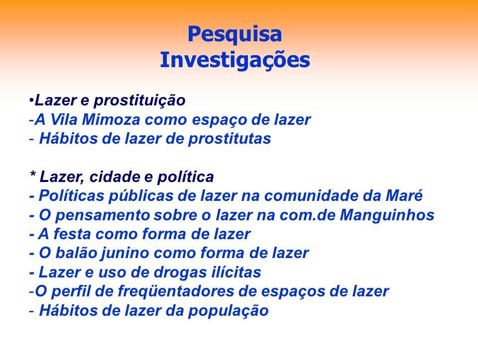 Pesquisa Investigações Lazer e prostituição -A Vila Mimoza como espaço de lazer - Hábitos de lazer de prostitutas * Lazer, cidade e política - Polític
