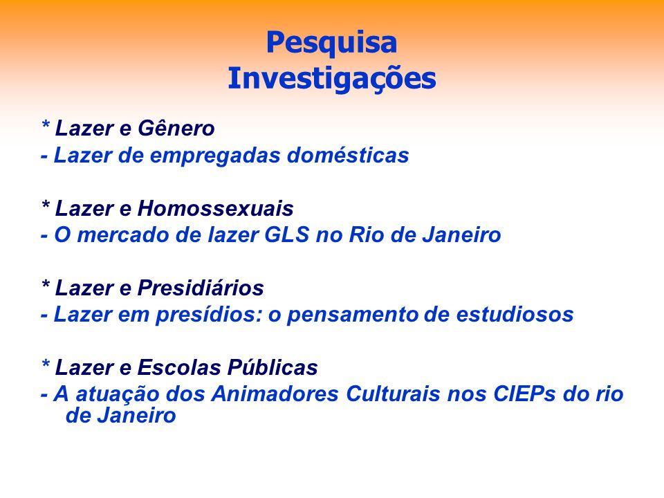 Pesquisa Investigações * Lazer e Gênero - Lazer de empregadas domésticas * Lazer e Homossexuais - O mercado de lazer GLS no Rio de Janeiro * Lazer e P