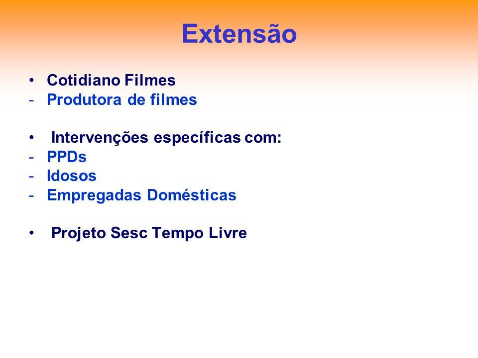 Extensão Cotidiano Filmes -Produtora de filmes Intervenções específicas com: -PPDs -Idosos -Empregadas Domésticas Projeto Sesc Tempo Livre