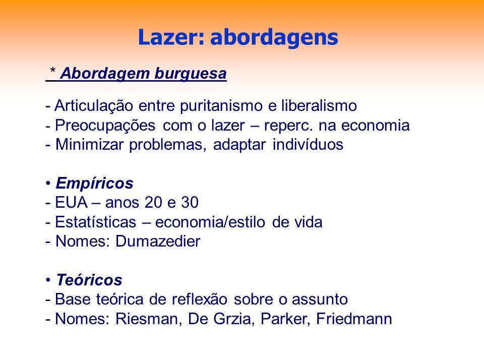 Lazer: abordagens * Abordagem burguesa - Articulação entre puritanismo e liberalismo - Preocupações com o lazer – reperc. na economia - Minimizar prob