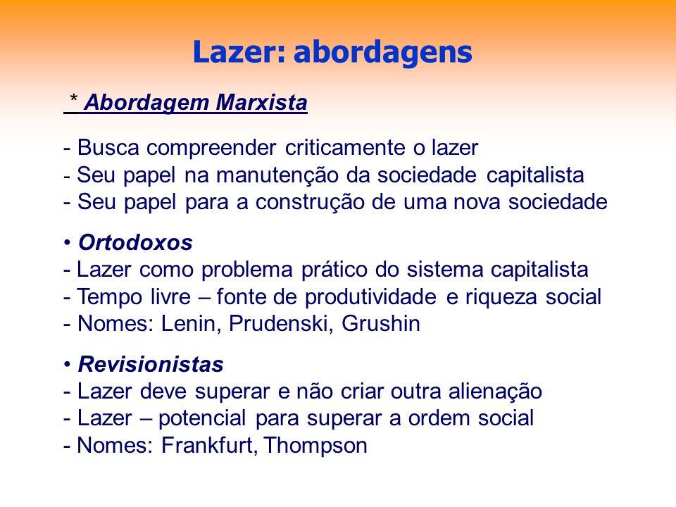 Lazer: abordagens * Abordagem Marxista - Busca compreender criticamente o lazer - Seu papel na manutenção da sociedade capitalista - Seu papel para a