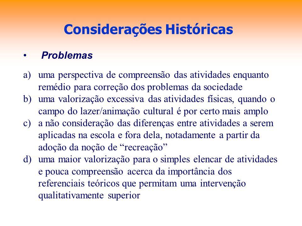 Considerações Históricas Problemas a)uma perspectiva de compreensão das atividades enquanto remédio para correção dos problemas da sociedade b)uma val