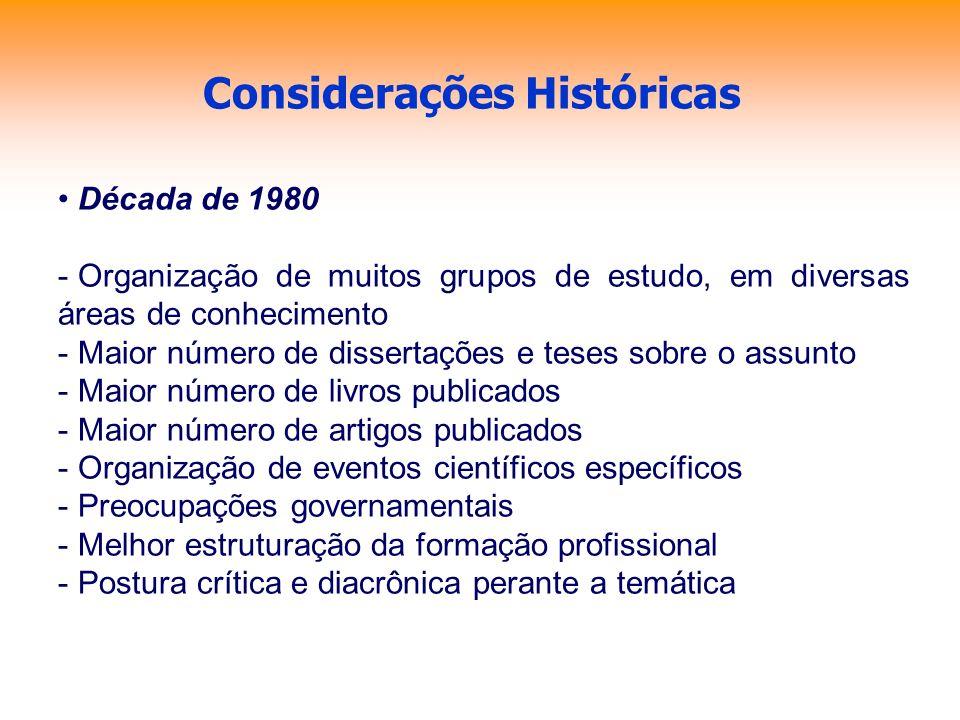 Considerações Históricas Década de 1980 - Organização de muitos grupos de estudo, em diversas áreas de conhecimento - Maior número de dissertações e t