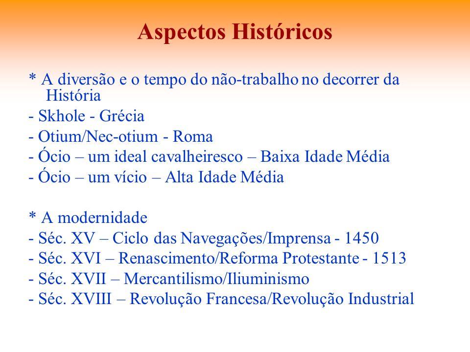 Aspectos Históricos * A diversão e o tempo do não-trabalho no decorrer da História - Skhole - Grécia - Otium/Nec-otium - Roma - Ócio – um ideal cavalh
