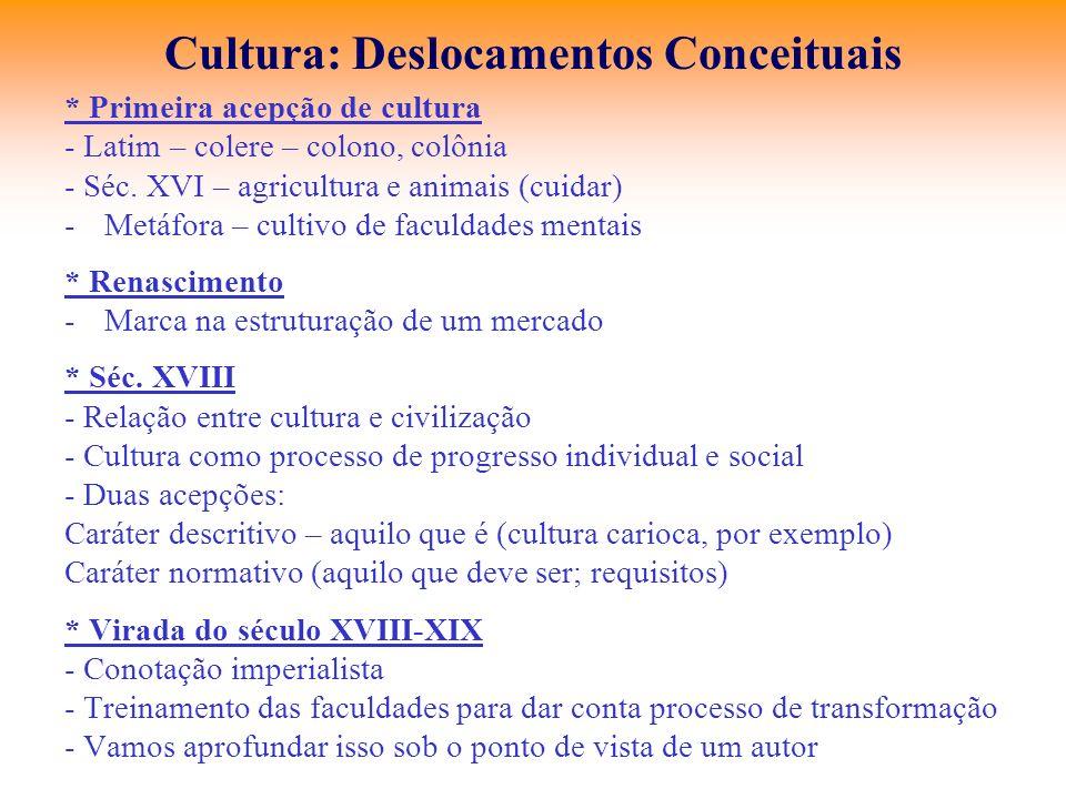 Cultura: Deslocamentos Conceituais * Primeira acepção de cultura - Latim – colere – colono, colônia - Séc. XVI – agricultura e animais (cuidar) -Metáf