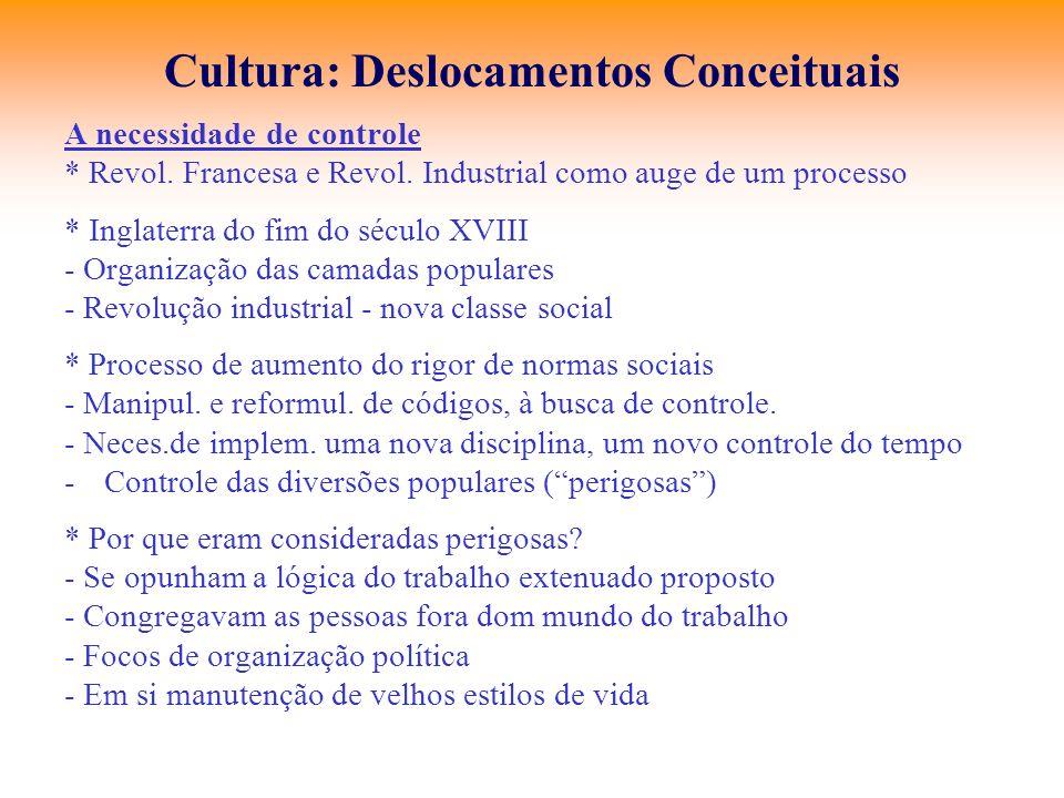 Cultura: Deslocamentos Conceituais A necessidade de controle * Revol. Francesa e Revol. Industrial como auge de um processo * Inglaterra do fim do séc