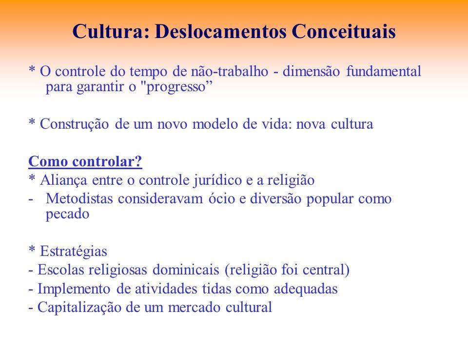Cultura: Deslocamentos Conceituais * O controle do tempo de não-trabalho - dimensão fundamental para garantir o