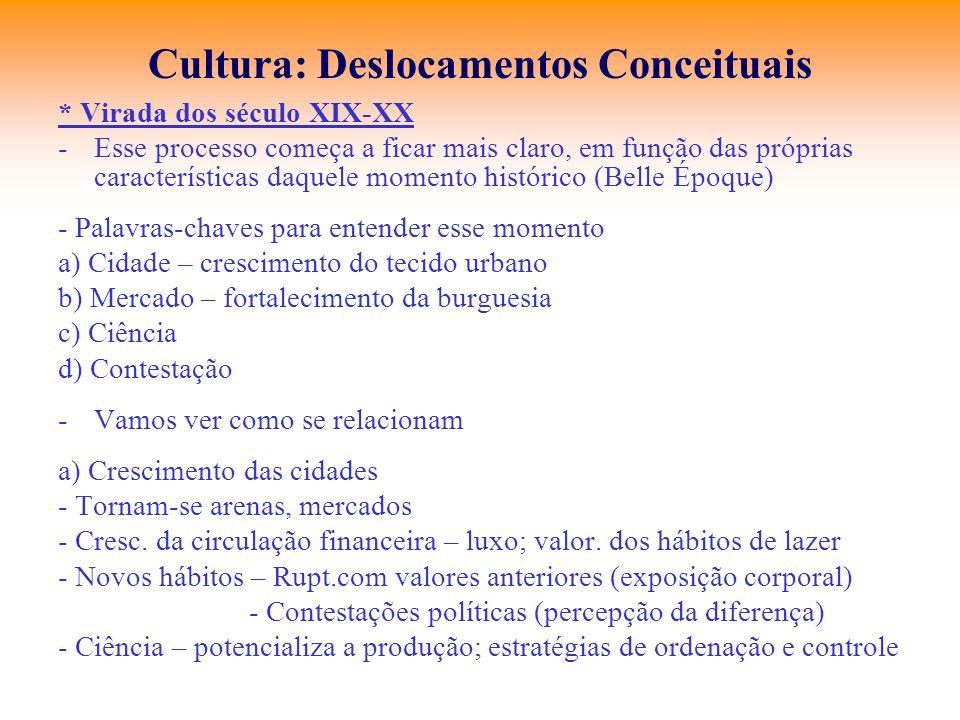 Cultura: Deslocamentos Conceituais * Virada dos século XIX-XX -Esse processo começa a ficar mais claro, em função das próprias características daquele