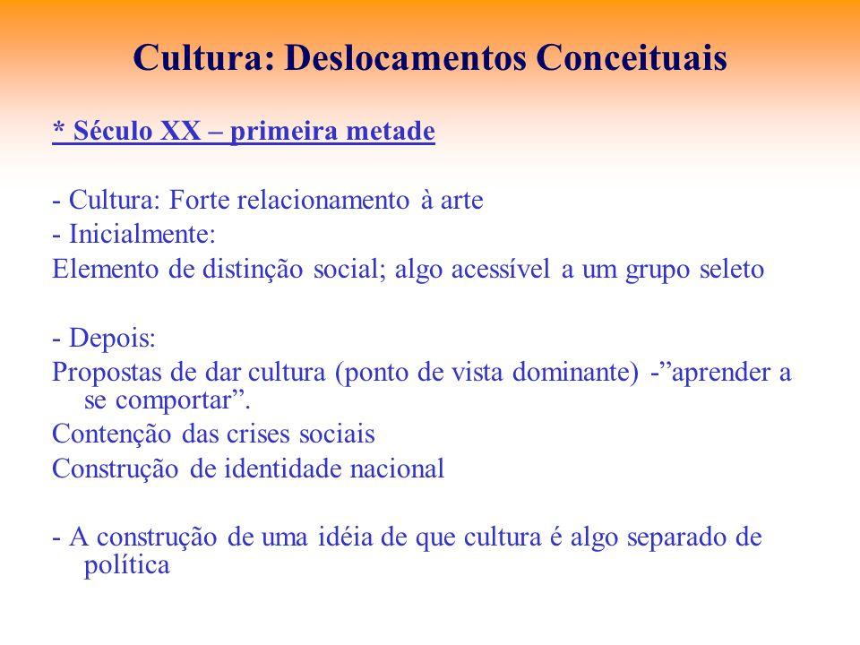 Cultura: Deslocamentos Conceituais * Século XX – primeira metade - Cultura: Forte relacionamento à arte - Inicialmente: Elemento de distinção social;