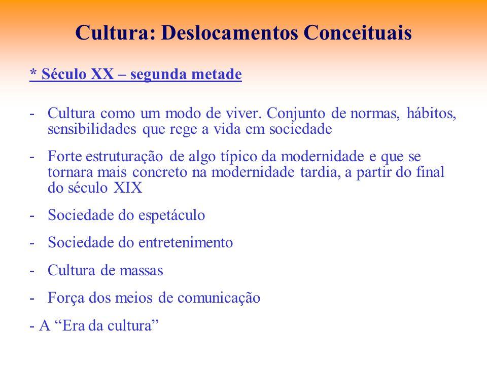 Cultura: Deslocamentos Conceituais * Século XX – segunda metade -Cultura como um modo de viver. Conjunto de normas, hábitos, sensibilidades que rege a