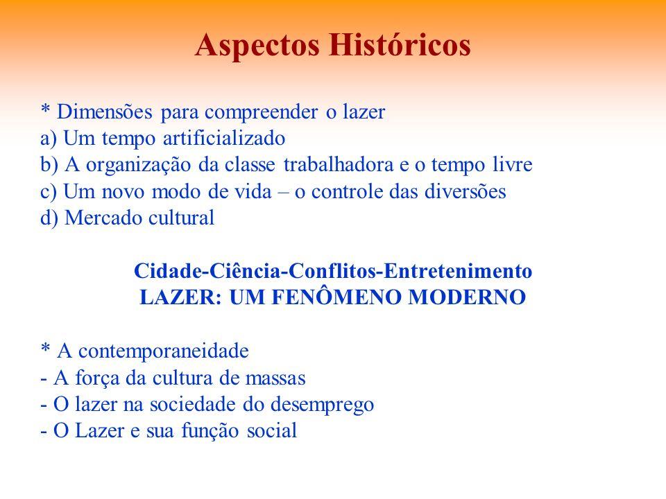 Aspectos Históricos * Dimensões para compreender o lazer a) Um tempo artificializado b) A organização da classe trabalhadora e o tempo livre c) Um nov