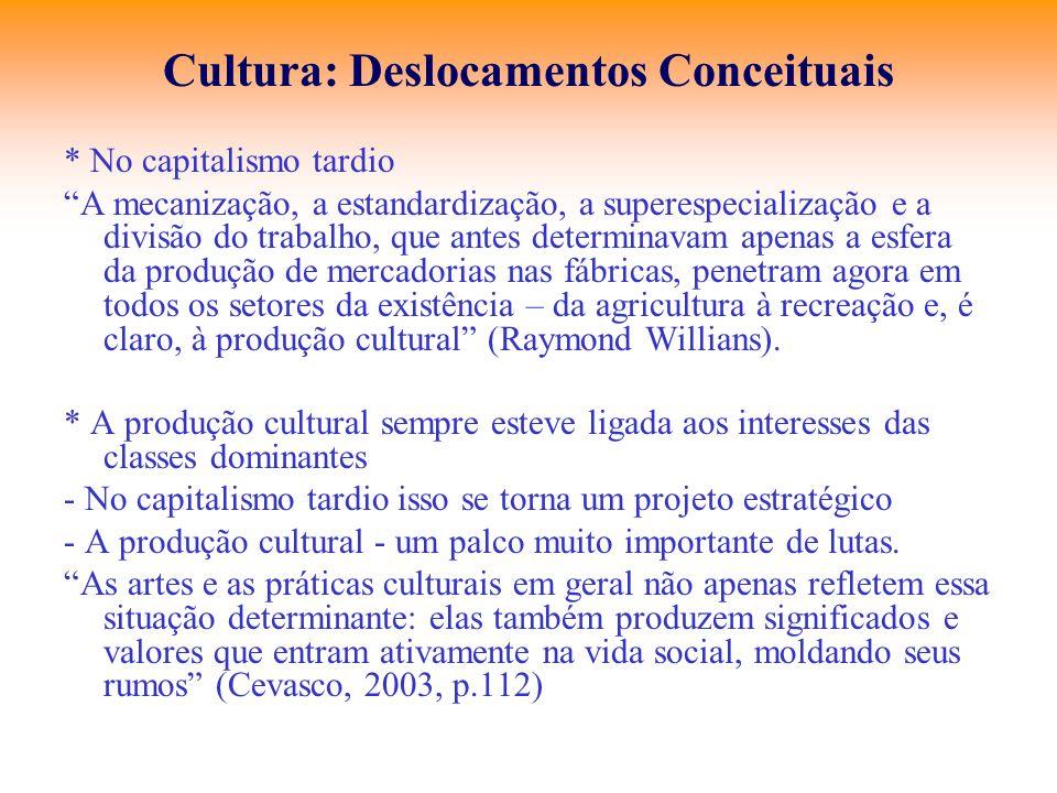 Cultura: Deslocamentos Conceituais * No capitalismo tardio A mecanização, a estandardização, a superespecialização e a divisão do trabalho, que antes