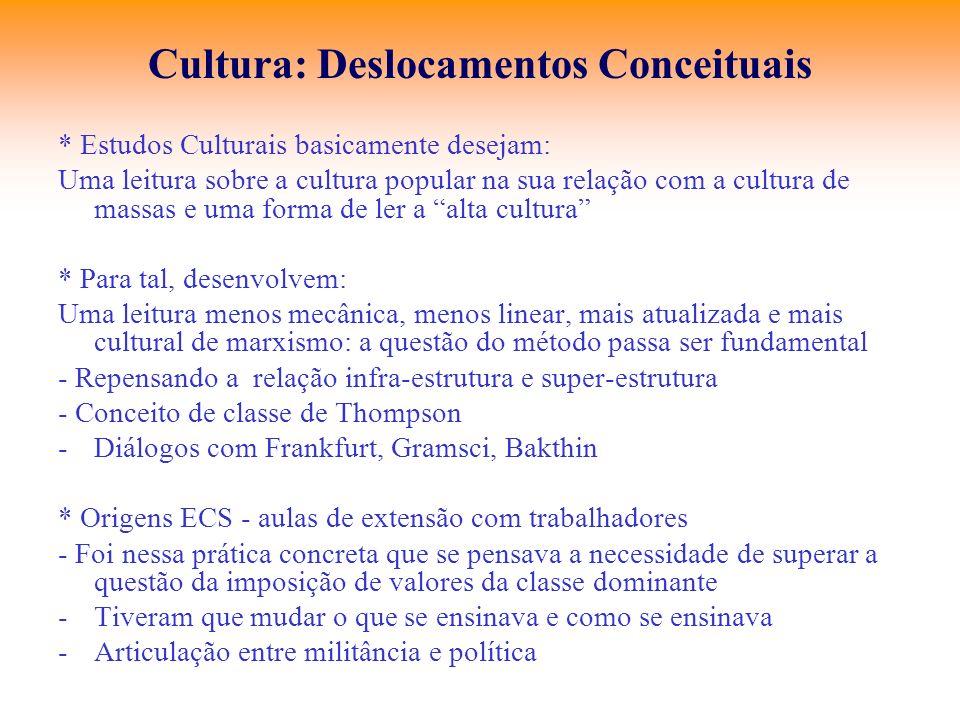 Cultura: Deslocamentos Conceituais * Estudos Culturais basicamente desejam: Uma leitura sobre a cultura popular na sua relação com a cultura de massas