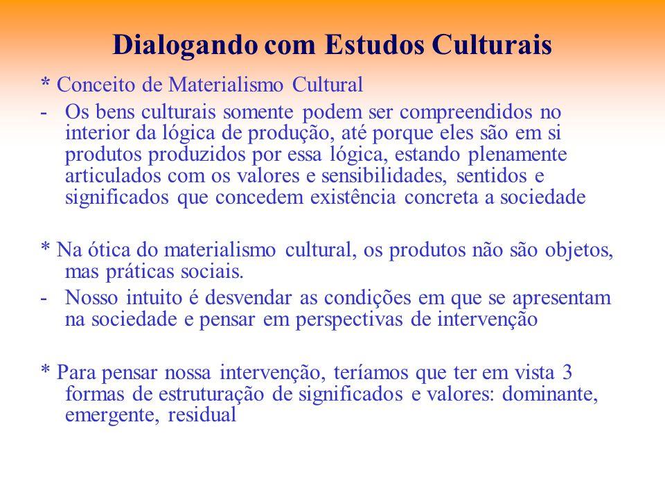 Dialogando com Estudos Culturais * Conceito de Materialismo Cultural -Os bens culturais somente podem ser compreendidos no interior da lógica de produ