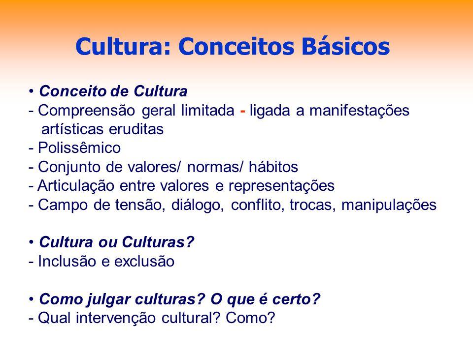 Cultura: Conceitos Básicos Conceito de Cultura - Compreensão geral limitada - ligada a manifestações artísticas eruditas - Polissêmico - Conjunto de v