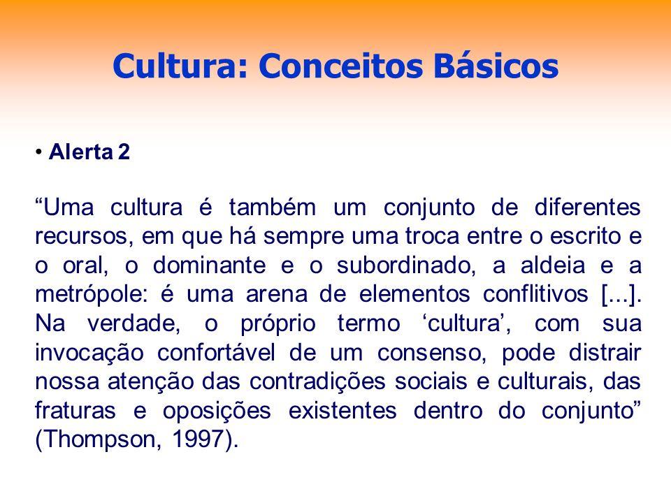 Cultura: Conceitos Básicos Alerta 2 Uma cultura é também um conjunto de diferentes recursos, em que há sempre uma troca entre o escrito e o oral, o do