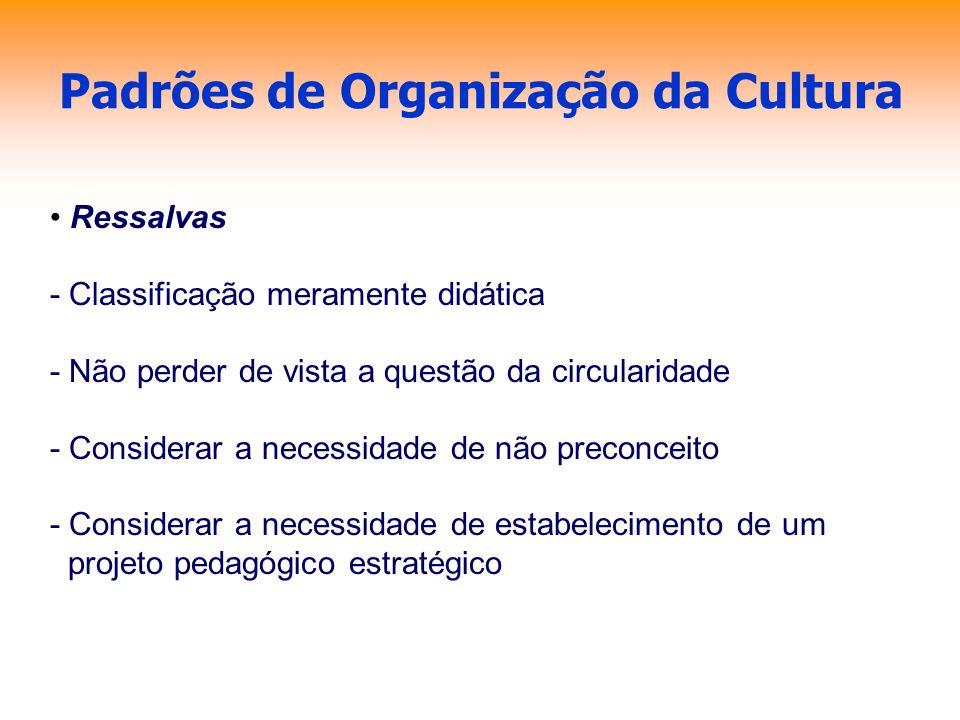Padrões de Organização da Cultura Ressalvas - Classificação meramente didática - Não perder de vista a questão da circularidade - Considerar a necessi