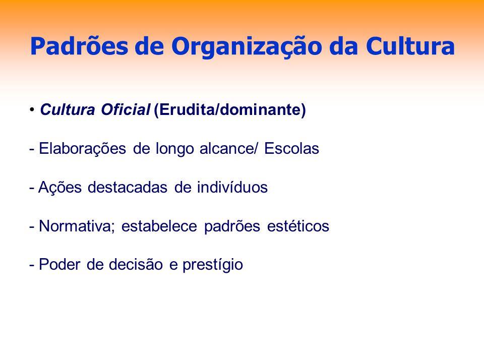 Padrões de Organização da Cultura Cultura Oficial (Erudita/dominante) - Elaborações de longo alcance/ Escolas - Ações destacadas de indivíduos - Norma