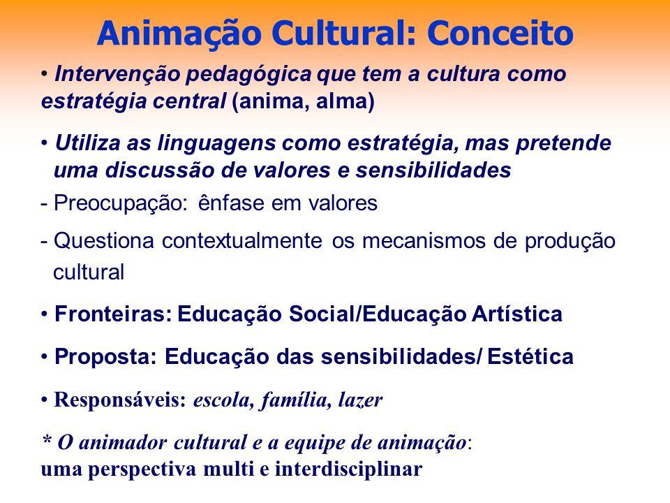 Animação Cultural: Conceito Intervenção pedagógica que tem a cultura como estratégia central (anima, alma) Utiliza as linguagens como estratégia, mas