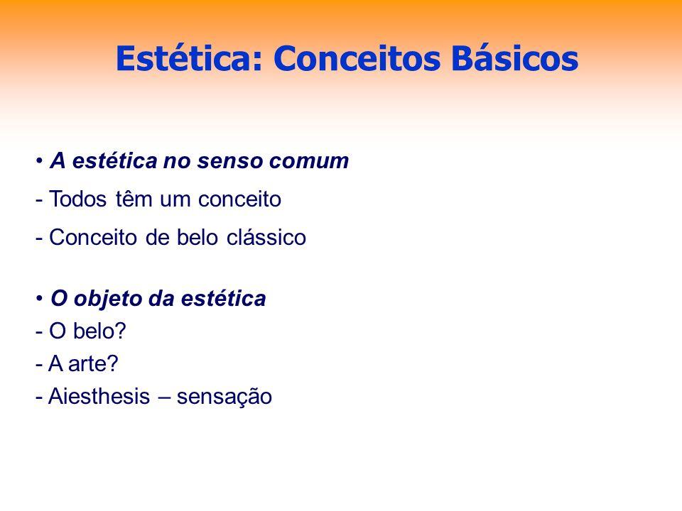 Estética: Conceitos Básicos A estética no senso comum - Todos têm um conceito - Conceito de belo clássico O objeto da estética - O belo? - A arte? - A