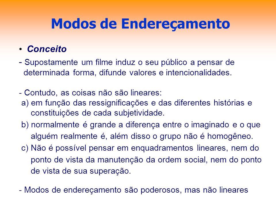 Modos de Endereçamento Conceito - Supostamente um filme induz o seu público a pensar de determinada forma, difunde valores e intencionalidades. - Cont