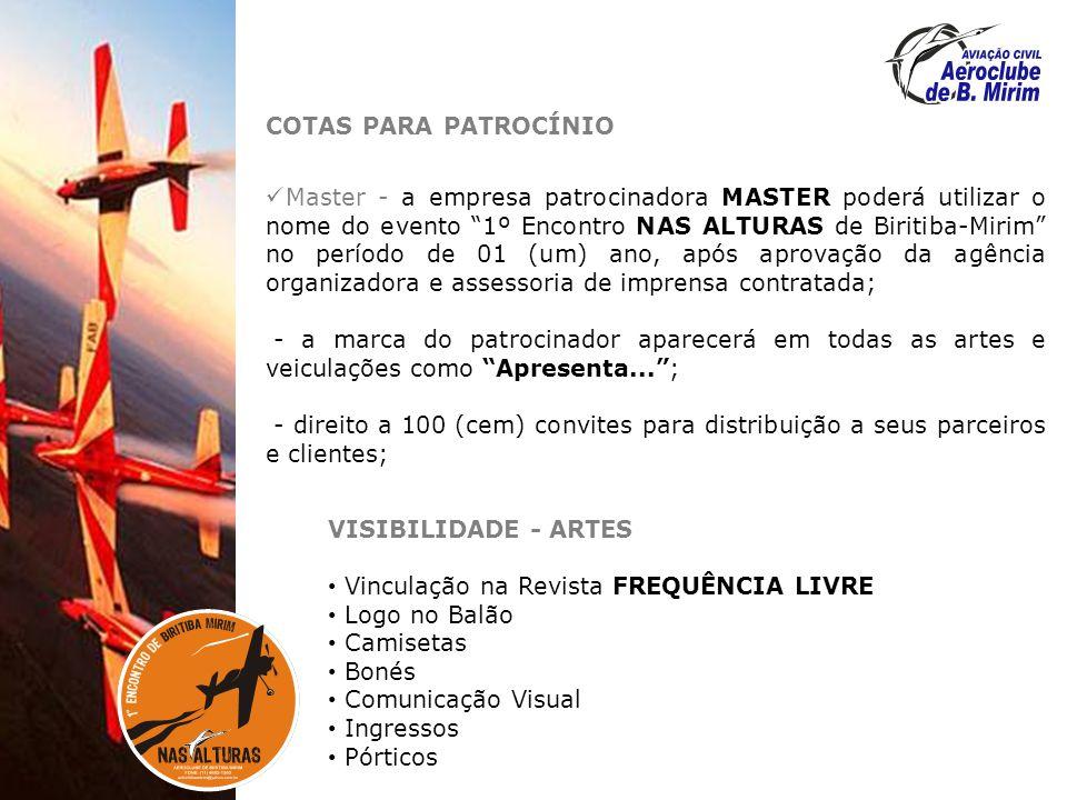 COTAS PARA PATROCÍNIO Master - a empresa patrocinadora MASTER poderá utilizar o nome do evento 1º Encontro NAS ALTURAS de Biritiba-Mirim no período de