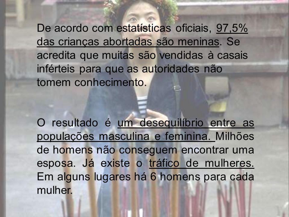 De acordo com estatísticas oficiais, 97,5% das crianças abortadas são meninas. Se acredita que muitas são vendidas à casais inférteis para que as auto